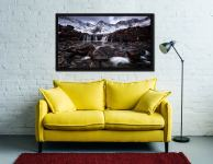 Fairy Pools Rocks Mountains Snow - Black oak floater frame with acrylic glazing on Wall