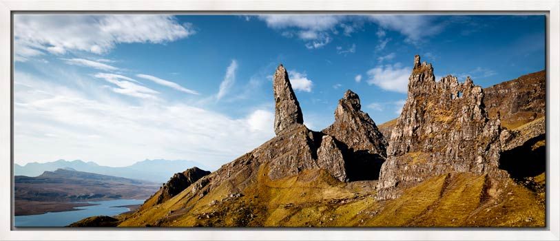 The Old Man of Storr and Needle Rock - White Maple floater frame with acrylic glazing