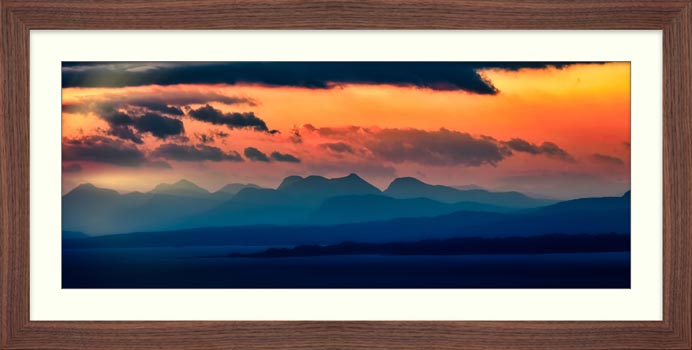 Dawn Over Mountains of Wester Ross - Framed Print
