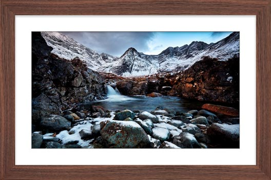 Spring Snow Fairy Pools - Framed Print with Mount