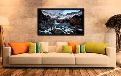Spring Snow Fairy Pools - Black oak floater frame with acrylic glazing on Wall