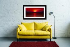 Red Sunset Over Outer Hebrides - Framed Print with Mount on Wall