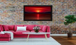 Red Sunset Over Outer Hebrides - Black oak floater frame with acrylic glazing on Wall