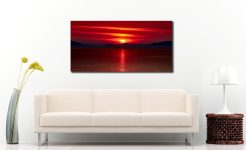 Red Sunset Over Outer Hebrides - Print Aluminium Backing With Acrylic Glazing on Wall