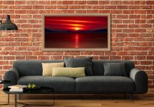 Red Sunset Over Outer Hebrides - Oak floater frame with acrylic glazing on Wall