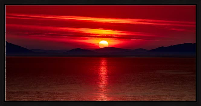 Red Sunset Over Outer Hebrides - Modern Print