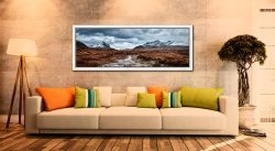 Glen Sligachan river with snow covered Cuillin mountains in the distance - White Maple floater frame with acrylic glazing on Wall