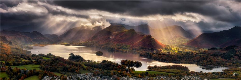 Darkness and Light Over Derwent Water - Canvas Print