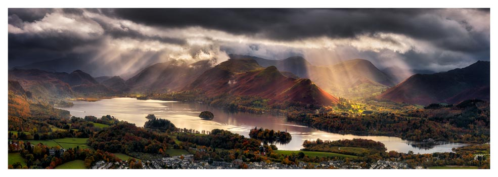 Darkness and Light Over Derwent Water - Prints of Lake District