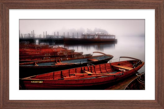 Red Boats in the Mist - Framed Print