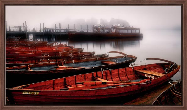 Red Boats in the Mist - Modern Print