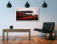 Red Boats in the Mist - White Maple floater frame with acrylic glazing on Wall