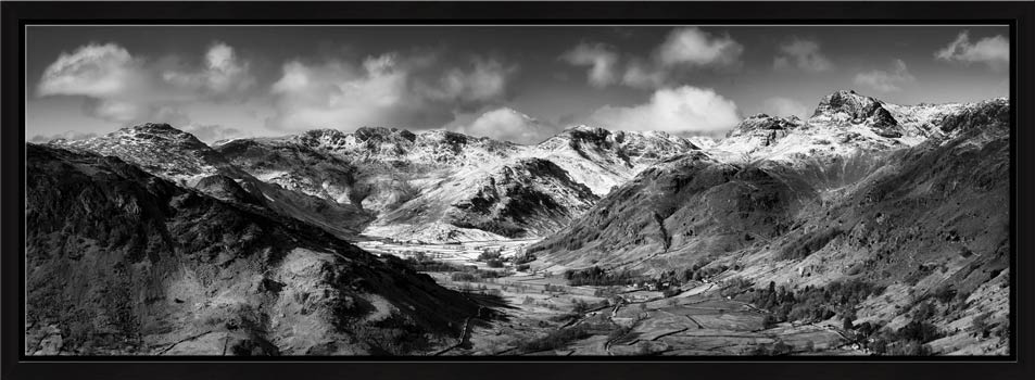 Great Langdale Valley in Winter - Black White Modern Print
