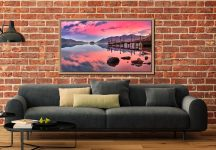 Pink Skies Derwent Water - Oak floater frame with acrylic glazing on Wall