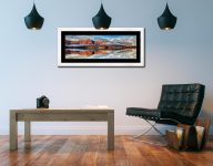 Cat Bells Autumn Mists - Framed Print with Mount on Wall