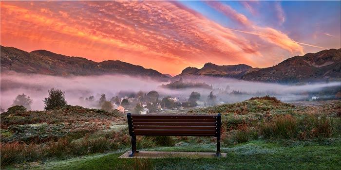 Dawn Mists Over Elterwater Village - Canvas Print