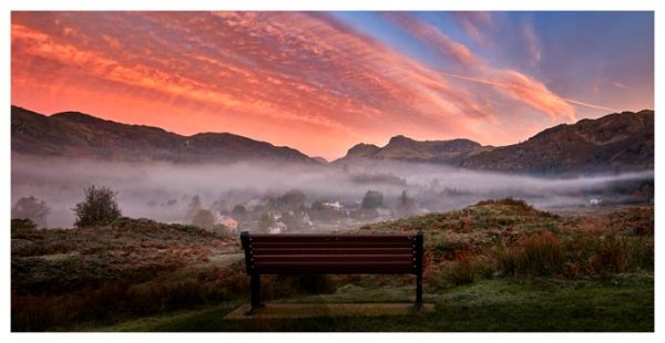 Dawn Mists Over Elterwater Village - Lake District Print