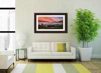 Dawn Mists Over Elterwater Village - Framed Print with Mount on Wall