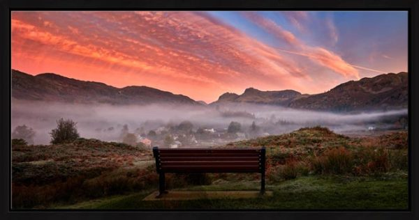 Dawn Mists Over Elterwater Village - Modern Print
