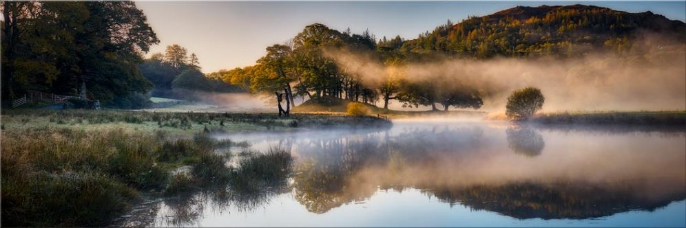 River Brathay Misty Panorama - Canvas Print