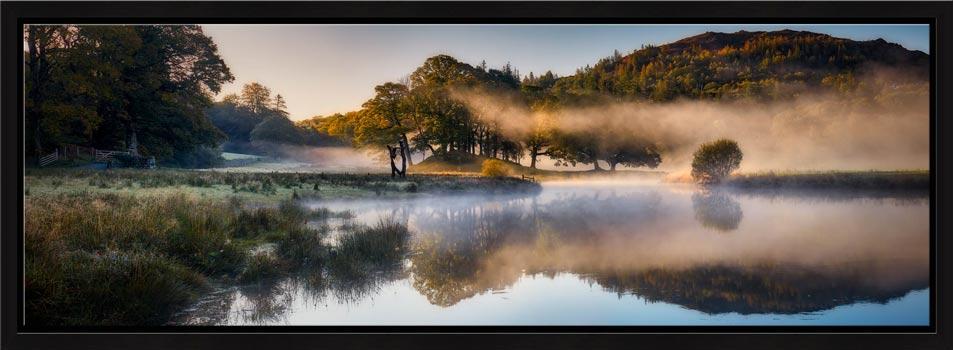 River Brathay Misty Panorama - Modern Print