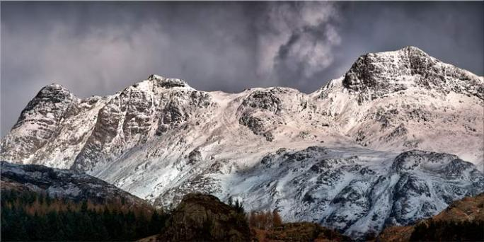 Snow on the Langdales - Canvas Print