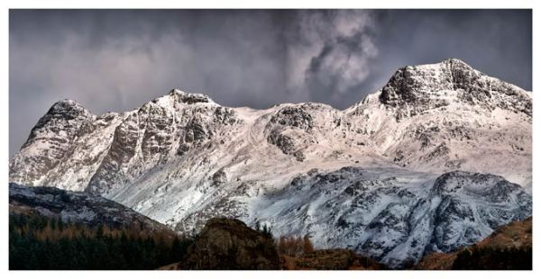 Snow on the Langdales - Lake District Print