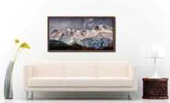 Snow on the Langdales - Walnut floater frame with acrylic glazing on Wall