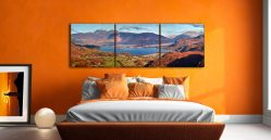 Derwent Water Autumn Panorama - 3 Panel Canvas on Wall