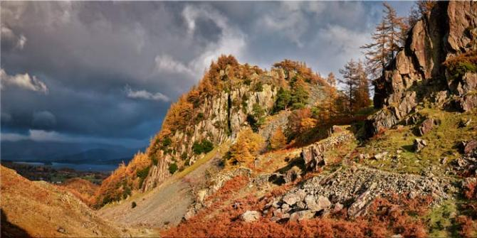 Castle Crag Autumn Sunshine - Canvas Print