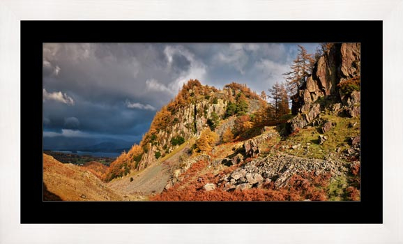 Castle Crag Autumn Sunshine - Framed Print