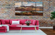 High Stile and High Crag - 3 Panel Wide Centre Canvas on Wall