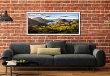 Wonderful view down the Buttermere valley from Loweswater Fell on a summer's morning - White Maple floater frame with acrylic glazing on Wall