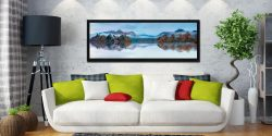 Autumn morning mists over Derwent Water - Black oak floater frame with acrylic glazing on Wall