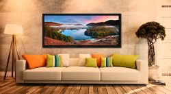 The pastel colours of dawn over Grasmere on an autumn morning - Black oak floater frame with acrylic glazing on Wall