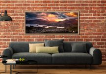 Golden sun rays at dusk beaming over Cat Bells - Oak floater frame with acrylic glazing on Wall