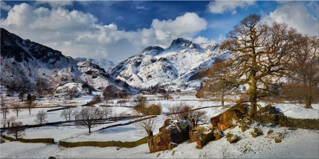 The Langdale Boulders in Winter - Canvas Print