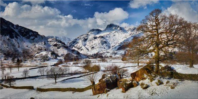 The Langdale Boulders in Winter - Canvas Print