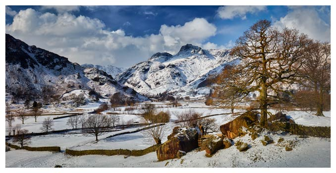 The Langdale Boulders in Winter - Lake District Print