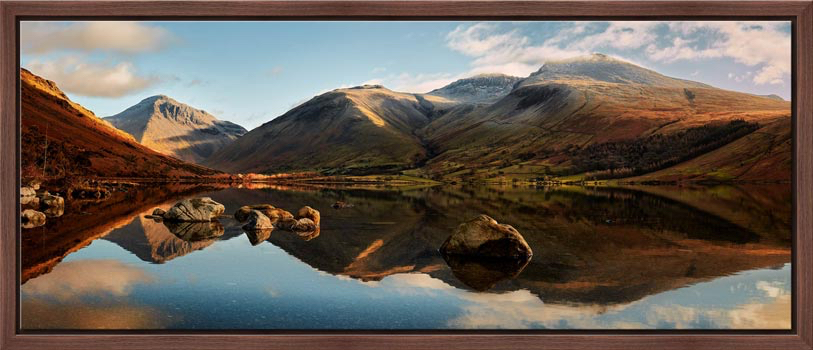 The first rays of light start to catch Wasdale head and Scafell Pike. Taken on a lovely calm winter's morning at Wast Water. Mountains left to right – Great Gable, Lingmell, Scafell Pike