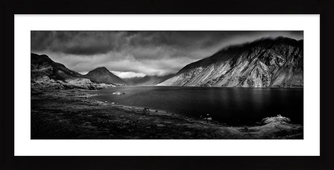 Sunlight on Wast Water - Black White Framed Print