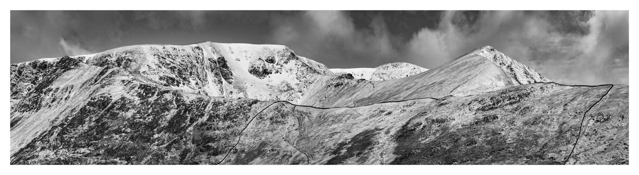 Snow Capped Helvellyn Mountains - Black White Lake District Print