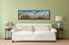 Snow Capped Helvellyn Mountains - Walnut floater frame with acrylic glazing on Wall