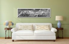Snow Capped Helvellyn Mountains - White Maple floater frame with acrylic glazing on Wall
