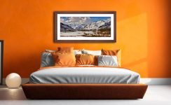 Snow on the Mountains of Langdale - Framed Print with Mount on Wall