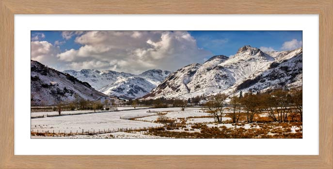 Snow on the Mountains of Langdale - Framed Print