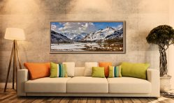 The mountains of the Langdale Valley under a coating of snow - Oak floater frame with acrylic glazing on Wall