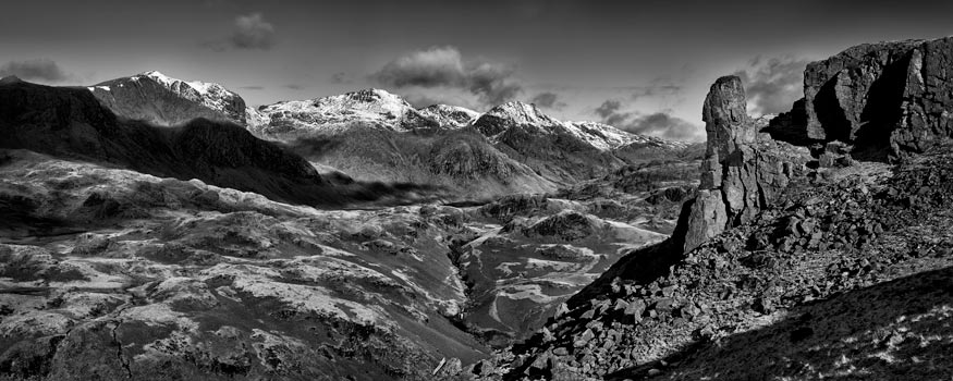 Eskdale Needle Winter Panorama - Black White Canvas