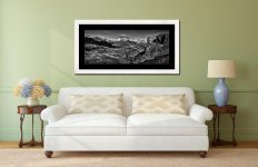 Eskdale Needle Winter Panorama - Black White Framed Print with Mount on Wall