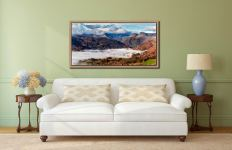 Great Langdale Mountains and Mist - Oak floater frame with acrylic glazing on Wall